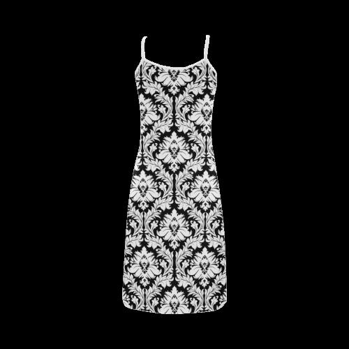 damask pattern black and white Alcestis Slip Dress (Model D05)