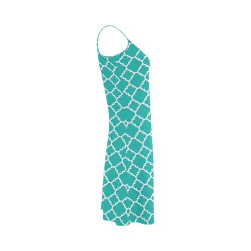 turquoise white quatrefoil classic pattern Alcestis Slip Dress (Model D05)