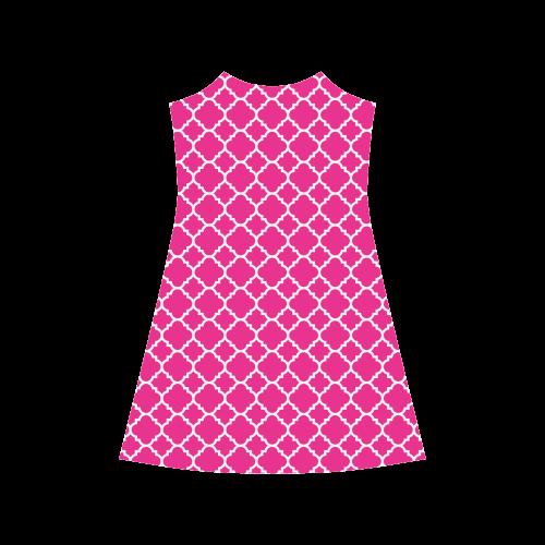 hot pink white quatrefoil classic pattern Alcestis Slip Dress (Model D05)