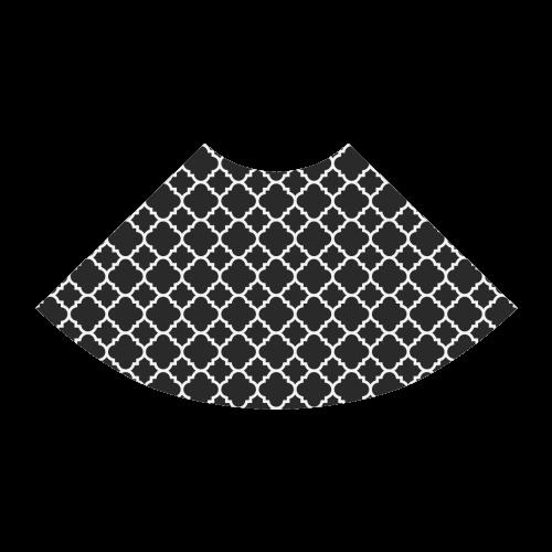 black white quatrefoil classic pattern Atalanta Sundress (Model D04)