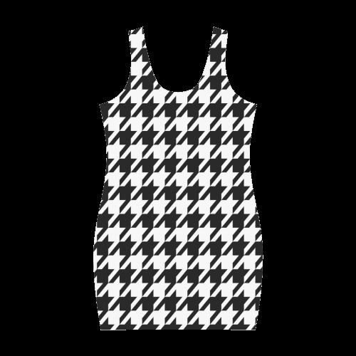 black and white houndstooth classic pattern Medea Vest Dress (Model D06)