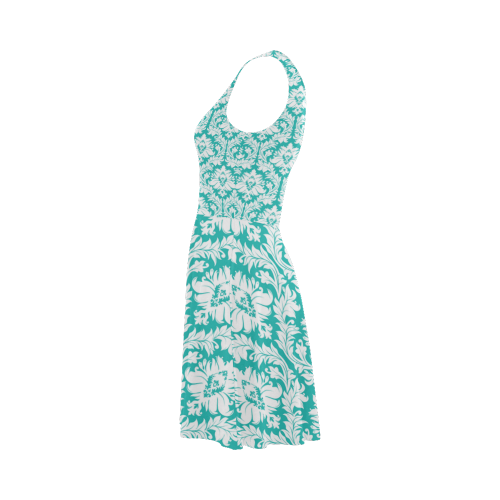 damask pattern turquoise and white Atalanta Sundress (Model D04)