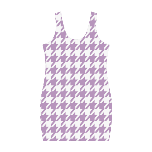 lilac and white houndstooth classic pattern Medea Vest Dress (Model D06)