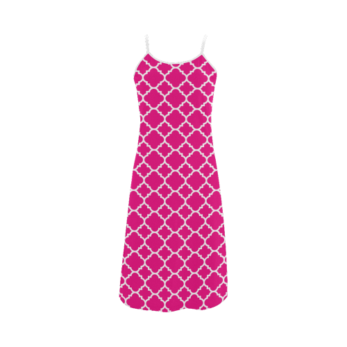 hot pink white quatrefoil classic pattern Alcestis Slip Dress (Model D05)