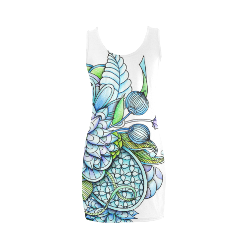 Blue green flower drawing Peaceful Garden Medea Vest Dress (Model D06)