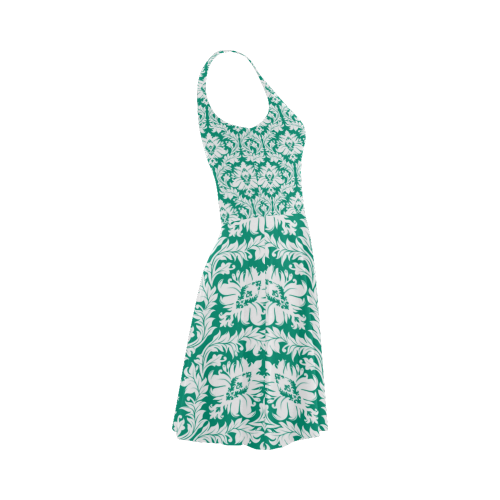 damask pattern emerald green and white Atalanta Sundress (Model D04)