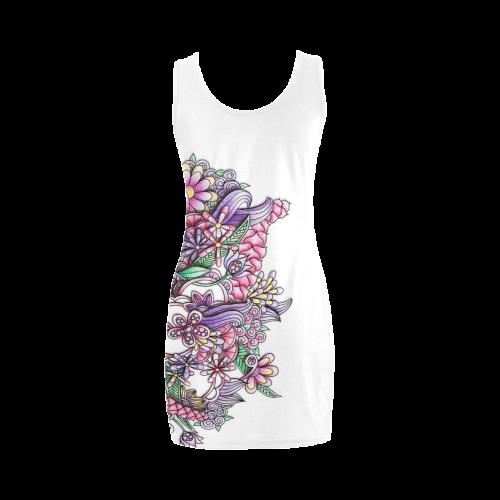 Pink Purple flower drawing Medea Vest Dress (Model D06)