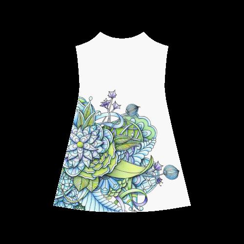 Blue green flower drawing Peaceful Garden Alcestis Slip Dress (Model D05)