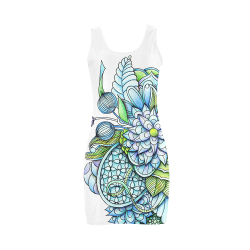 This fresh blue Spring Dress has a white base decorated with blue and green flowers and leaves. The design is based on a drawing.   Fun and different as you would expect from an indie designer.