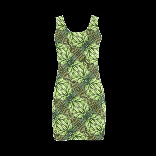 Mandy Green - Leaf Weave small foliage Medea Vest Dress (Model D06)