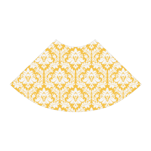 damask pattern sunny yellow and white Atalanta Sundress (Model D04)