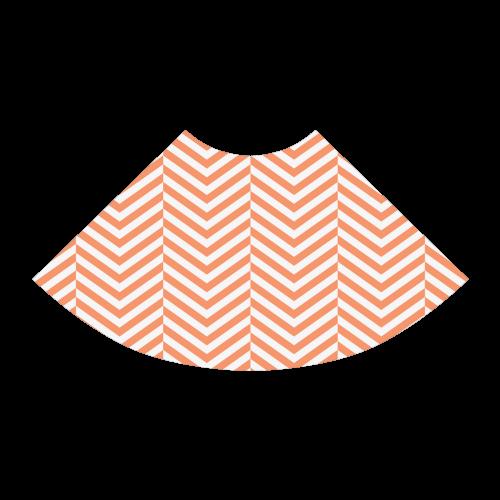orange and white classic chevron pattern Atalanta Sundress (Model D04)