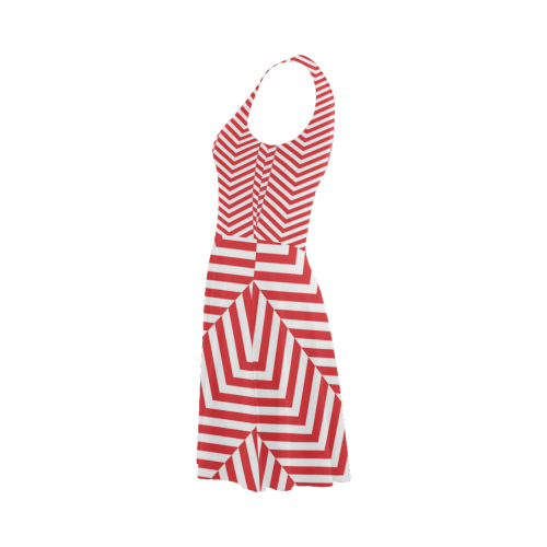 red and white classic chevron pattern Atalanta Sundress (Model D04)