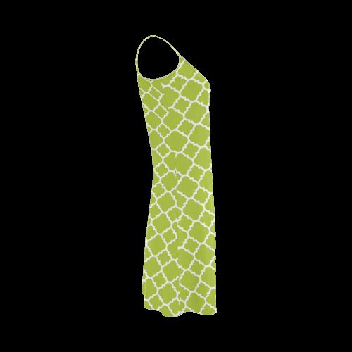spring green white quatrefoil classic pattern Alcestis Slip Dress (Model D05)