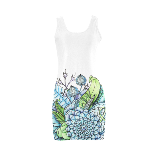 This is another dress from the same collection. The chance of placement of the drawing in the same colors gives this dress a completely different look.