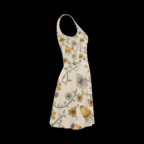 yellow orange fantasy doodle flower pattern Atalanta Sundress (Model D04)