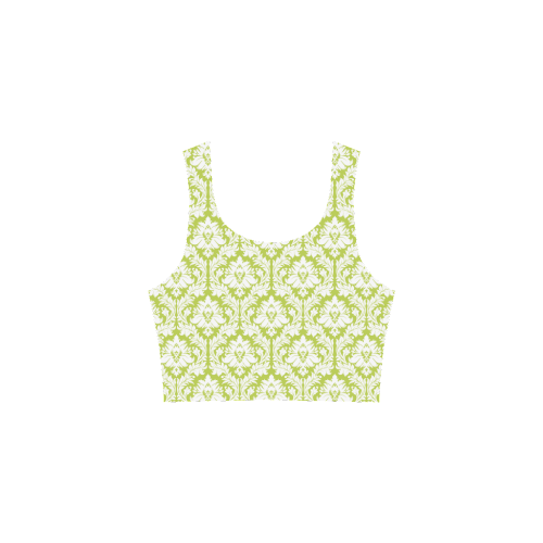 damask pattern spring green and white Atalanta Sundress (Model D04)