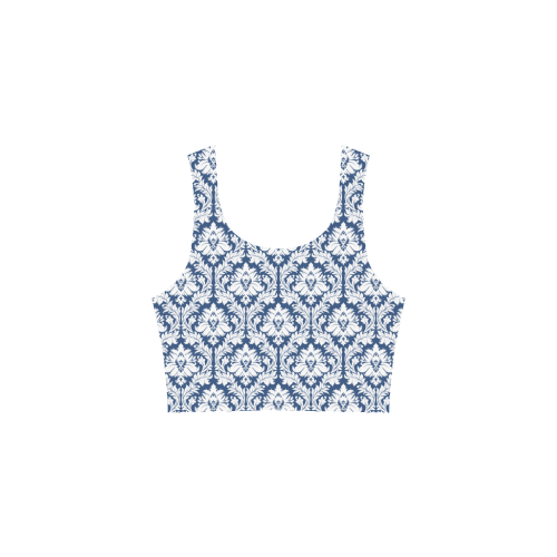 damask pattern navy blue and white Atalanta Sundress (Model D04)