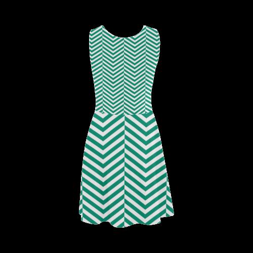 emerald green and white classic chevron pattern Atalanta Sundress (Model D04)