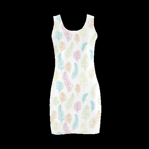 fun feather pattern teal pink orange green Medea Vest Dress (Model D06)