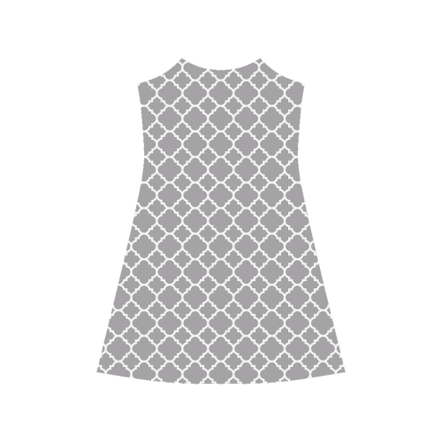 grey white quatrefoil classic pattern Alcestis Slip Dress (Model D05)