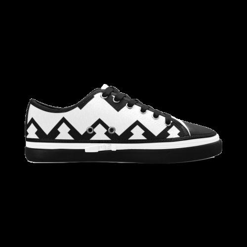 chevron black and white 1 s canvas zipper shoes