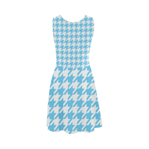 bright blue and white houndstooth classic pattern Atalanta Sundress (Model D04)