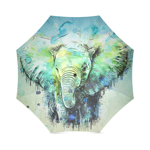 watercolor elephant Foldable Umbrella (Model U01)
