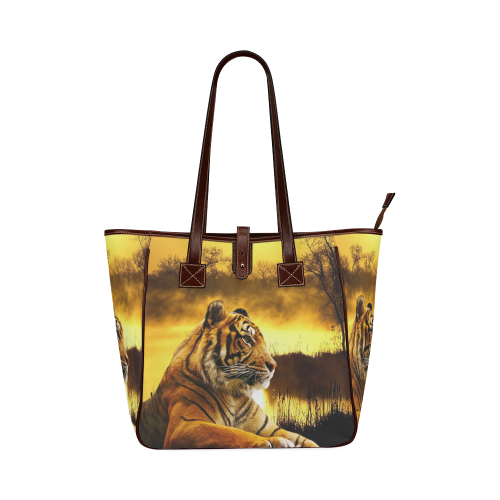Tiger and Sunset Classic Tote Bag (Model 1644)