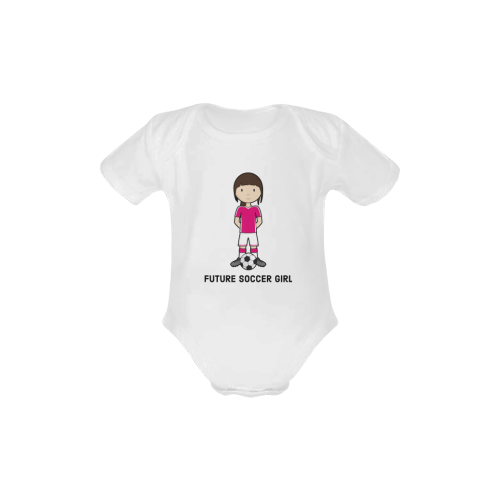 Future Soccer girl - sport player ball Baby Powder Organic Short Sleeve One Piece (Model T28)