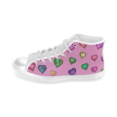 Shimmering hearts Men's Classic High Top Canvas Shoes (Model 017)