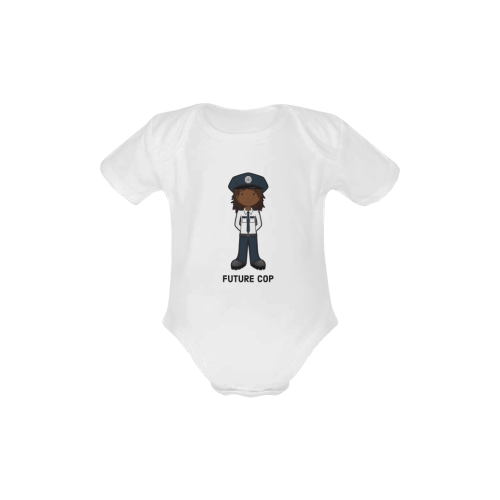 future cop - police officer girl law enforcement Baby Powder Organic Short Sleeve One Piece (Model T28)