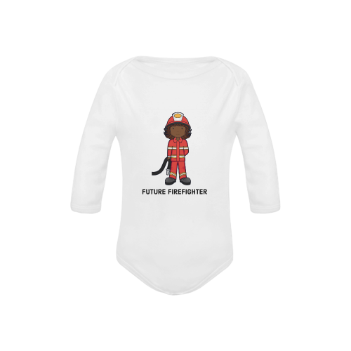 Future Firefighter - girl Baby Powder Organic Long Sleeve One Piece (Model T27)