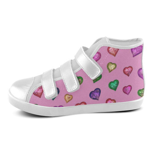 Shimmering hearts Velcro High Top Canvas Kid's Shoes (Model 015)