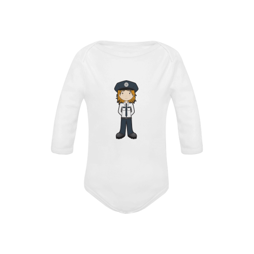 Police Girl - officer law enforcement cop Baby Powder Organic Long Sleeve One Piece (Model T27)
