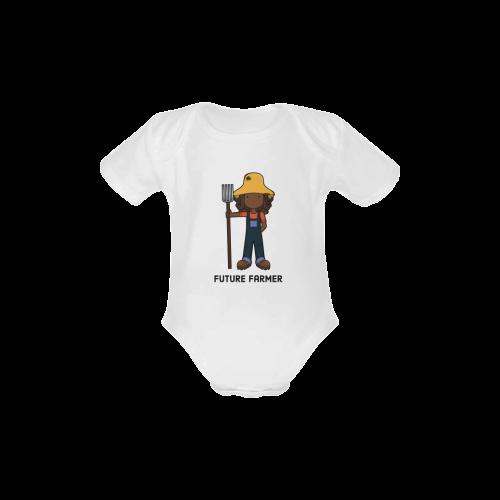 Future Farmer -when I grow up farm girl Baby Powder Organic Short Sleeve One Piece (Model T28)