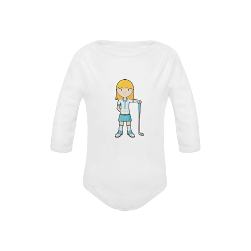 Golf Girl - golfing golf club blue Baby Powder Organic Long Sleeve One Piece (Model T27)