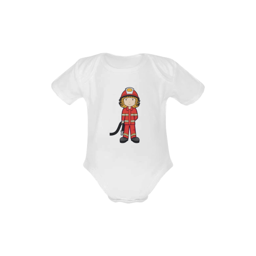 Fire fighter - girl gear when I grow up Baby Powder Organic Short Sleeve One Piece (Model T28)