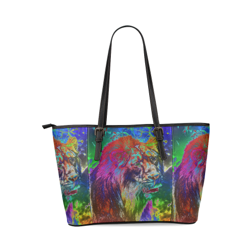NEON Lion Leather Tote Bag/Large (Model 1640)