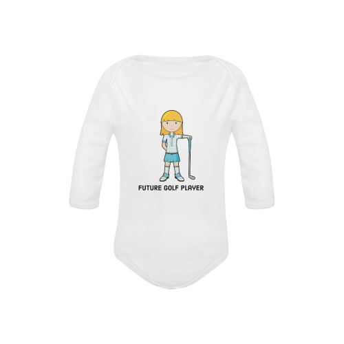 Future Golf Player - girl blue golfer Baby Powder Organic Long Sleeve One Piece (Model T27)