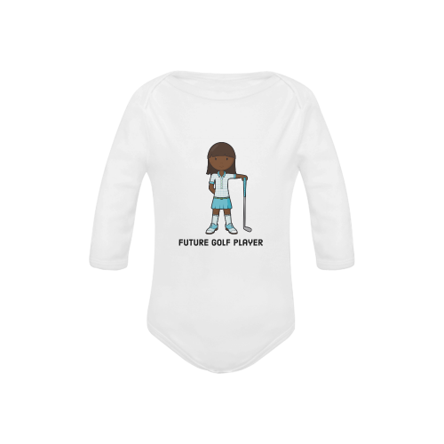 Future Golf Player - girl blue Baby Powder Organic Long Sleeve One Piece (Model T27)