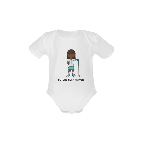 Future Golf Player - girl blue Baby Powder Organic Short Sleeve One Piece (Model T28)