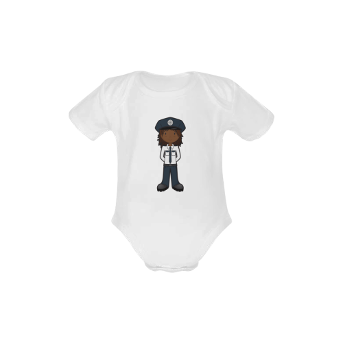 Police Girl -officer law enforcement cop Baby Powder Organic Short Sleeve One Piece (Model T28)