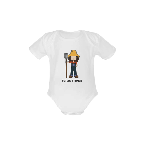 Future Farmer - when I grow up farm girl Baby Powder Organic Short Sleeve One Piece (Model T28)