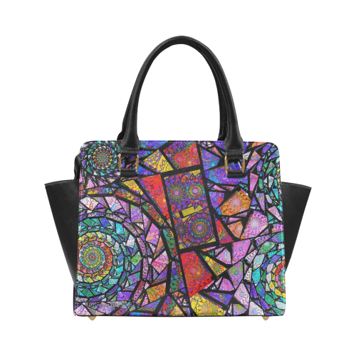 Stained Glass Spirals Classic Shoulder Handbag (Model 1653)