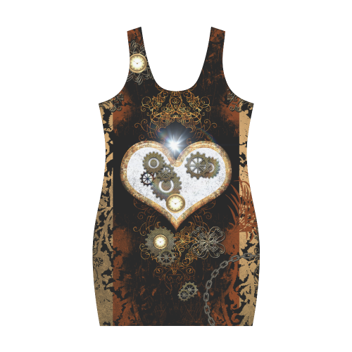 Steampunk, heart, clocks and gears Medea Vest Dress (Model D06)