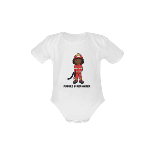 Future Firefighter - girl Baby Powder Organic Short Sleeve One Piece (Model T28)