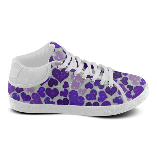 sparkling hearts blue Women's Chukka Canvas Shoes (Model 003)