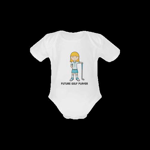 Future Golf Player - girl blue golfer Baby Powder Organic Short Sleeve One Piece (Model T28)