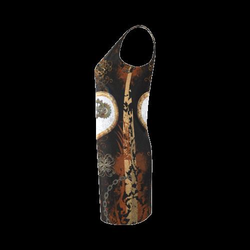 Steampunk, heart, clocks and gears Medea Vest Dress (Model D06)